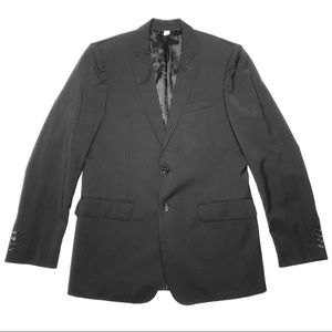 Burberry Black Double Vent Slim Fit Wool Blazer